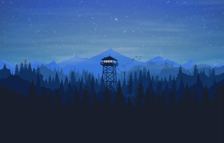 Фото обои Горы, Ночь, Звезды, Игра, Лес, Вид, Птицы, Холмы, Пейзаж, Арт, Вышка, Campo Santo, Firewatch, Пожарный …