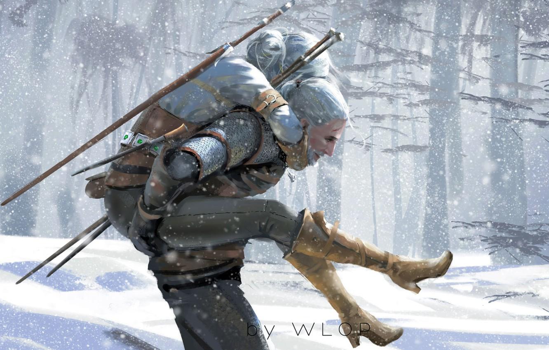 Фото обои Зима, Рисунок, Игра, Снег, Меч, Арт, Art, Winter, Ведьмак, Snow, Геральт, Game, Witcher, Sword, The …