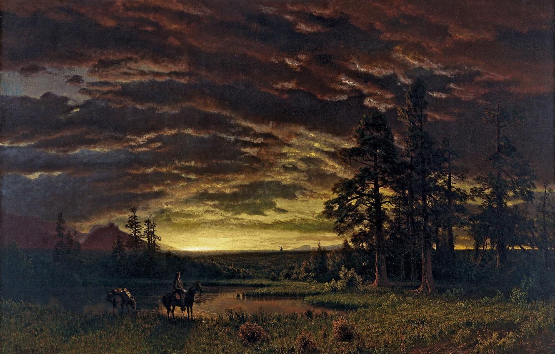 Фото обои пейзаж, природа, арт, Albert Bierstadt, Альберт Бирштадт, Evening on the Prairie