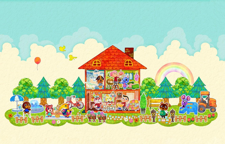 Фото обои дом, комната, радуга, вектор, облако, мышка, киска, арт, двор, мишка, собачка, зверюшки, детская