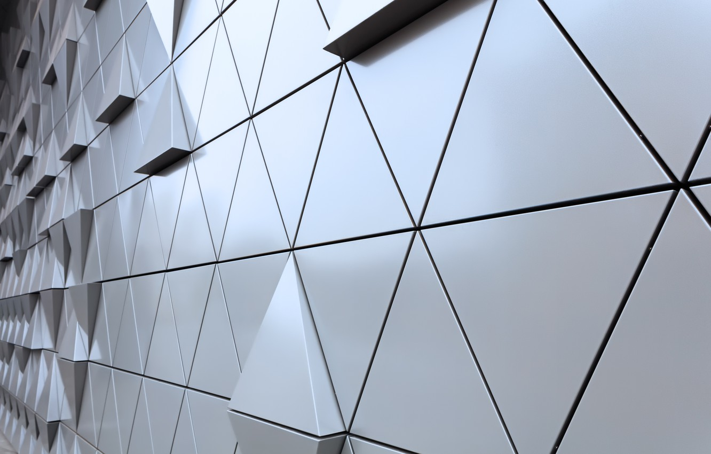 Фото обои abstract, wall, design, texture, треугольник, background, steel, triangle