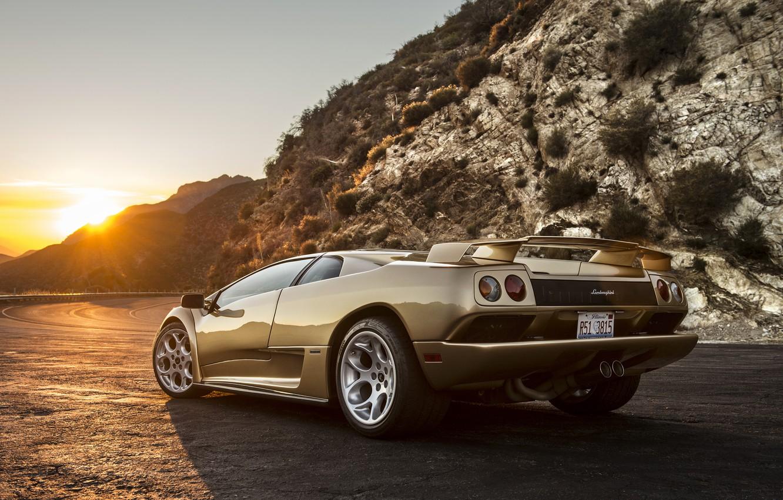 Фото обои солнце, закат, Lamborghini, суперкар, Diablo, ламборгини, диабло