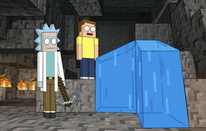 Фото обои Вода, Пещера, water, Minecraft, cave, Майнкрафт, Rick and Morty, Рик и Морти, Кирка, pickaxe, cartoon …