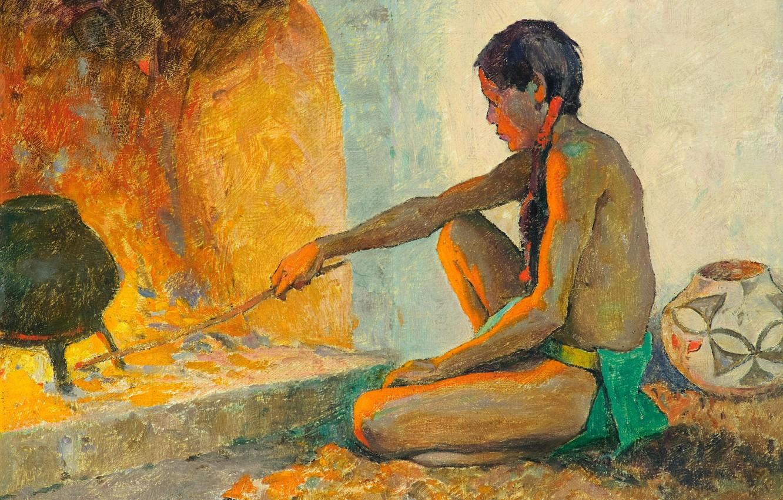 Фото обои огонь, печка, кувшин, палка, казан, Eanger Irving Couse, Pueblo Fireplace