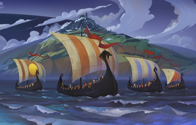 Фото обои море, пейзаж, корабль, арт, парус, воины, Banner Saga
