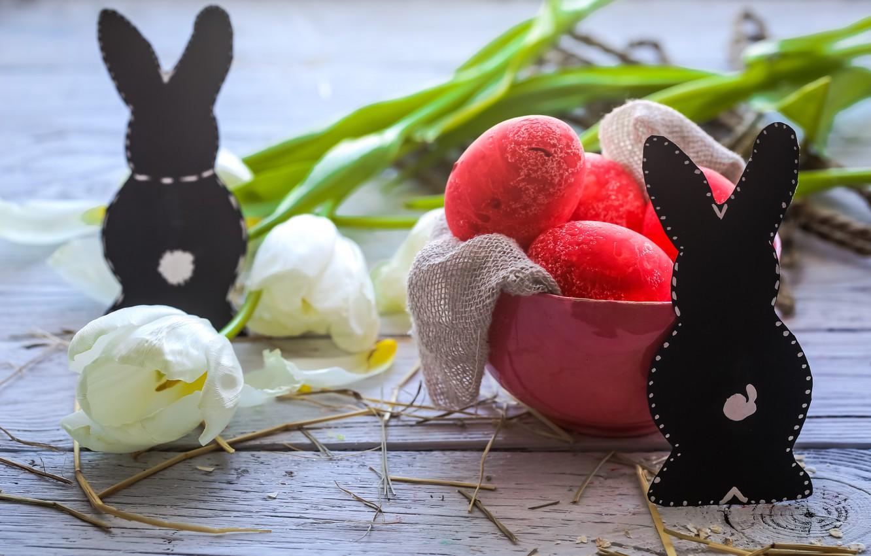 Фото обои Пасха, тюльпаны, happy, flowers, tulips, spring, Easter, eggs, holiday, bunny, яйца крашеные