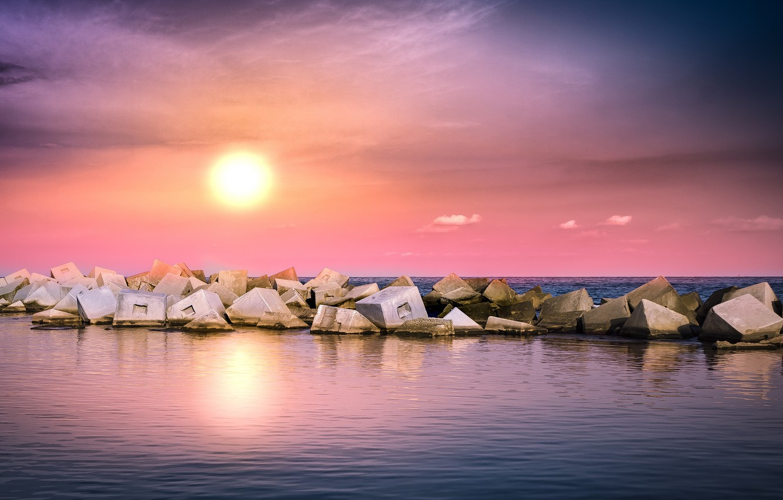 Фото обои море, пейзаж, закат, природа, камни