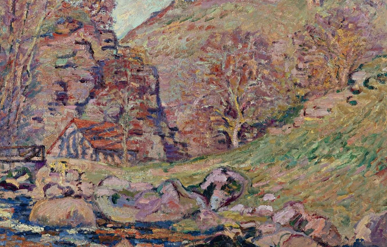 Фото обои пейзаж, картина, Арман Гийомен, Armand Guillaumin, Руины Замка в Крозане и Водяная Мельница