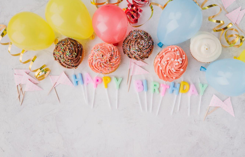 Фото обои праздник, свечи, выпечка, кексы, день рождение