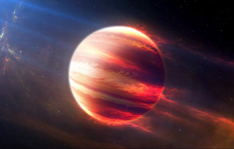 Фото обои space, stars, cosmos, planet, galaxy, digital art, artwork, Jupiter