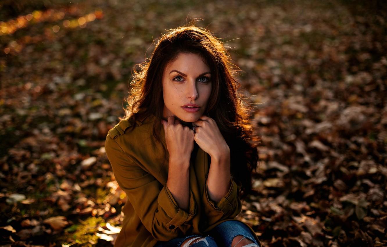 Фото обои взгляд, девушка, портрет, Ines Estelle