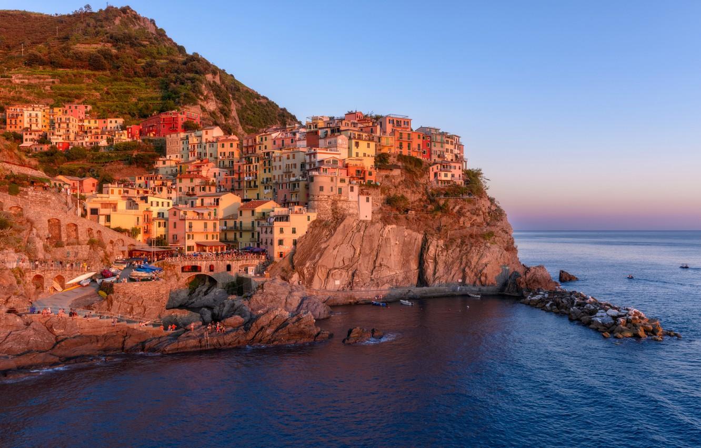 Фото обои море, скалы, дома, Италия, Манарола, Лигурийское побережье