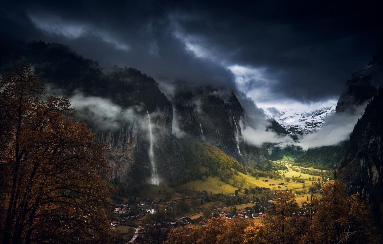 Фото обои осень, небо, облака, горы, тучи, Швейцария, долина, Лаутербруннен, коммуна, кантон Берн, водопад Штауббах