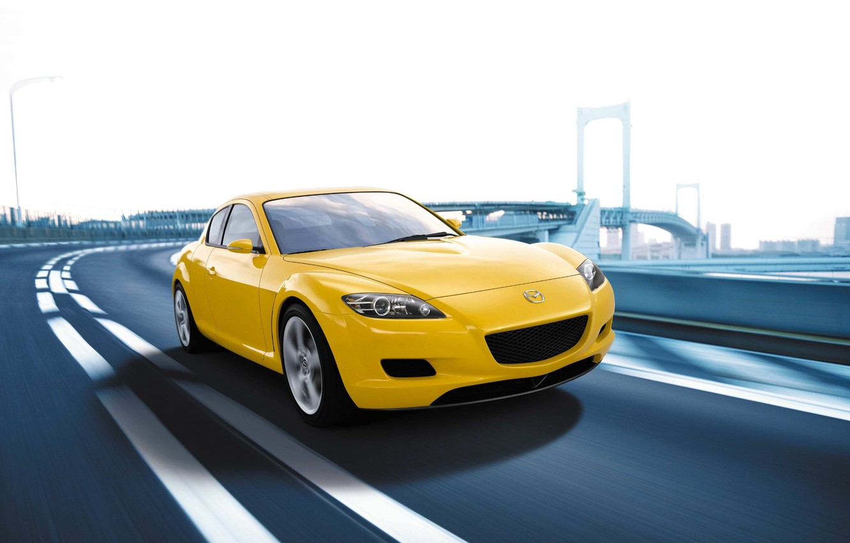 Фото обои Авто, Дорога, Город, Скорость, Желтая, Mazda, Мазда РХ 8