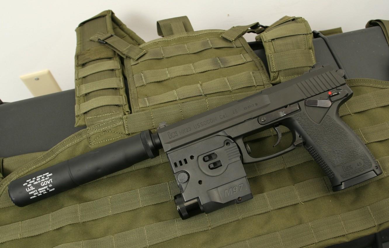 Фото обои пистолет, оружие, gun, pistol, weapon, Глушитель, Хеклер Кох, Silencer, Mark 23, Heckler & Koch, HM …