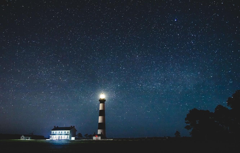 Фото обои звезды, ночь, маяк