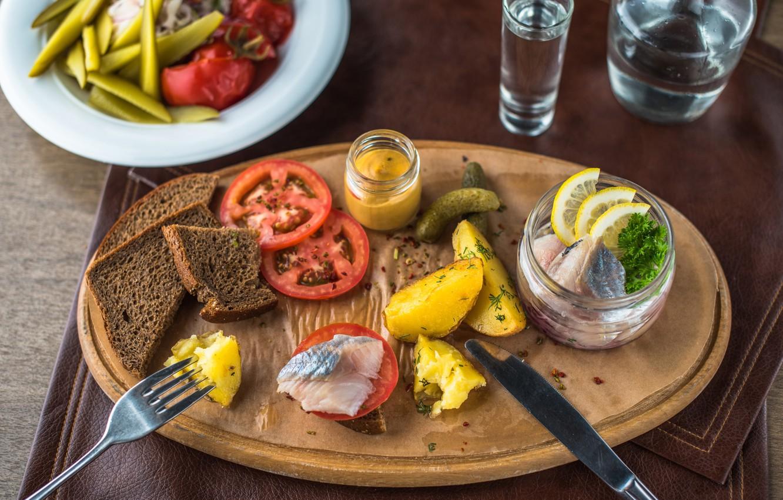 Фото обои хлеб, помидор, закуска, картофель, селедка, сало
