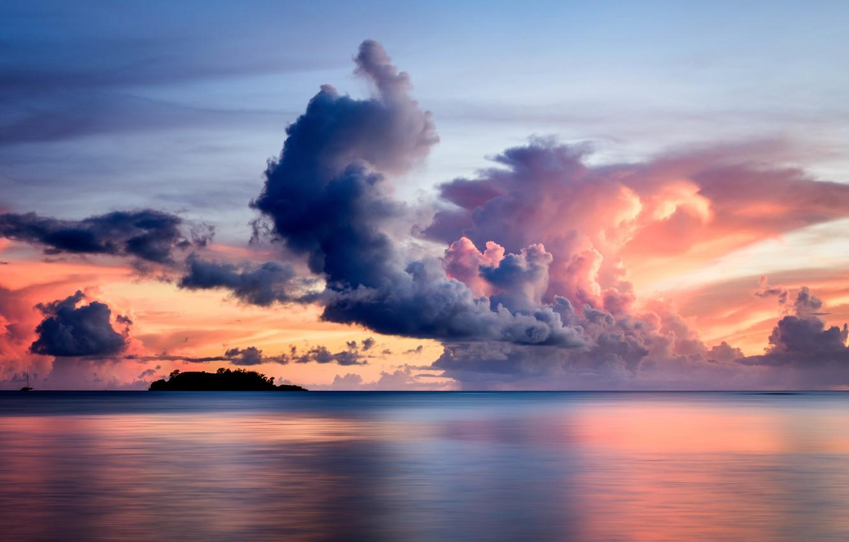 Фото обои sea, sunset, clouds, island, yacht