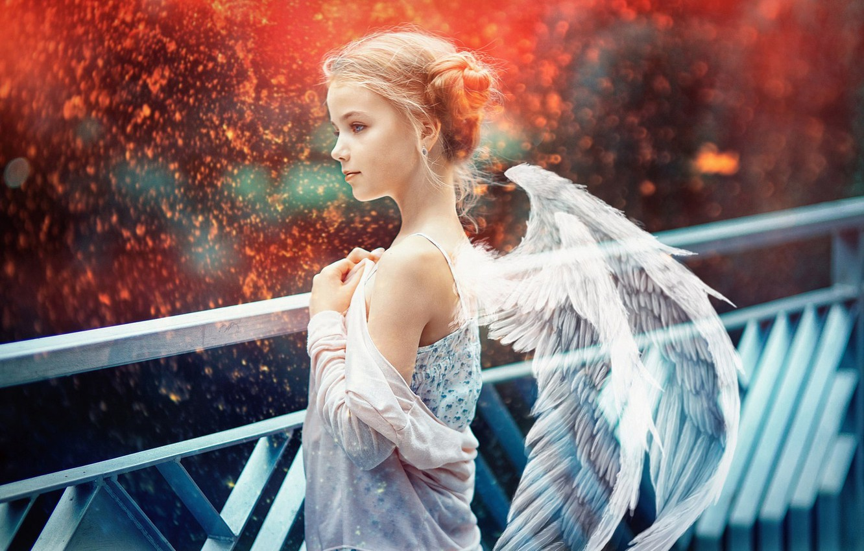 Фото обои крылья, ангел, искры, девочка, боке