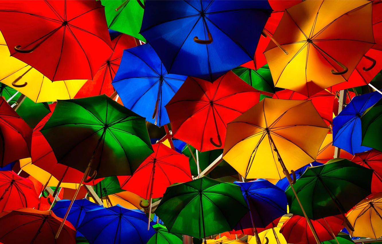 Картинка яркие зонтики