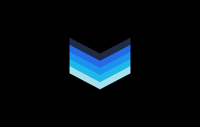 Фото обои dark, light, black, blue, chevron, галочки, шевроны