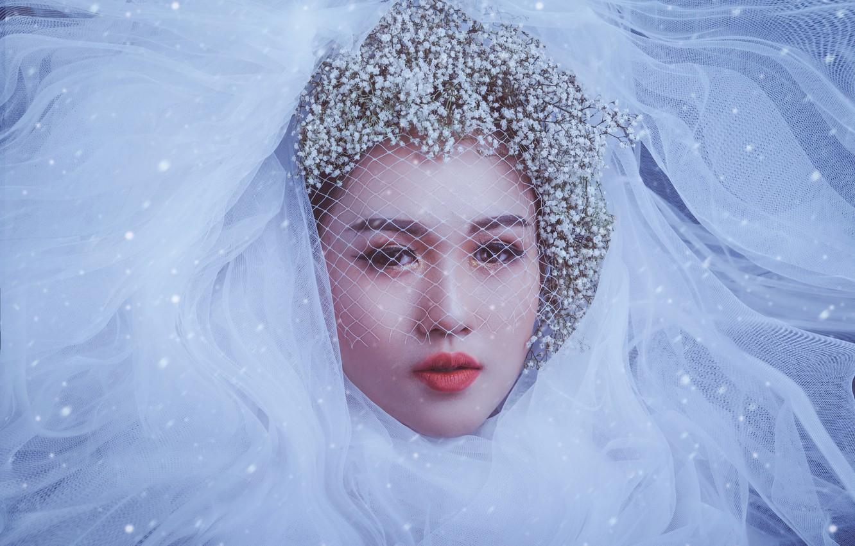Фото обои взгляд, девушка, цветы, лицо, стиль, макияж, азиатка, невеста, фата, вуаль, гипсофила