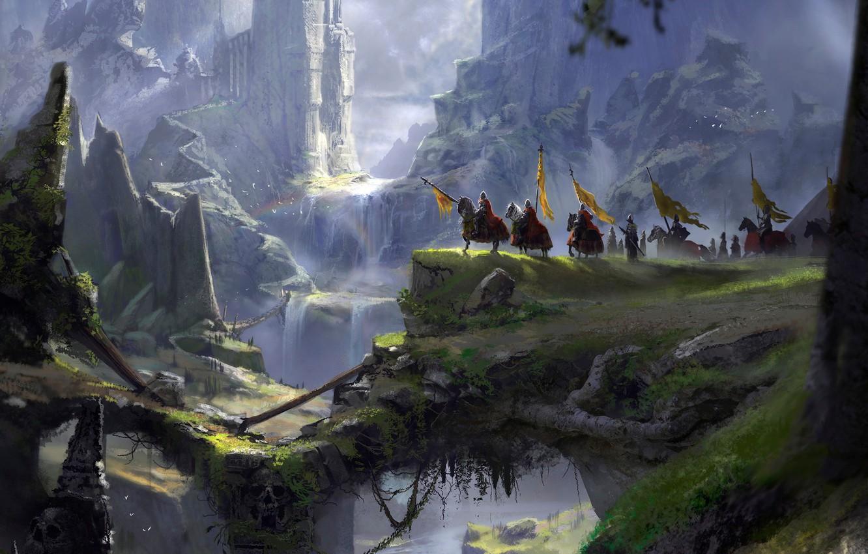 Фото обои горы, пропасть, рыцари, A long journey, fantasy port castle