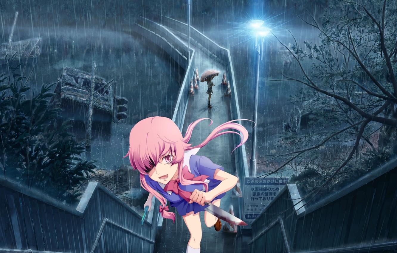 Фото обои ночь, мост, кровь, погоня, кинжал, ливень, безумие, Mirai Nikki, Gasai Yuno, Дневник Будущего, проклятое место, …