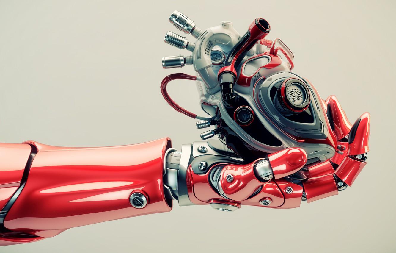Фото обои heart, hand, robotics