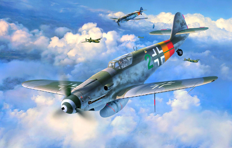 Обои Подвесной топливный бак, gustav, bf-109, мesserschmitt, б-17, Bf.109G-10, бомбардировщик. Авиация foto 16