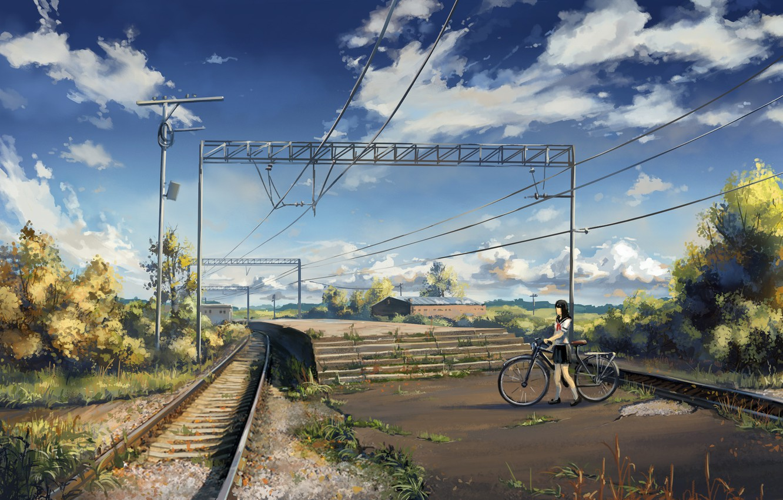 Фото обои небо, асфальт, облака, велосипед, столбы, провода, рельсы, дома, станция, Япония, железная дорога, ступени, школьница, платформа, …