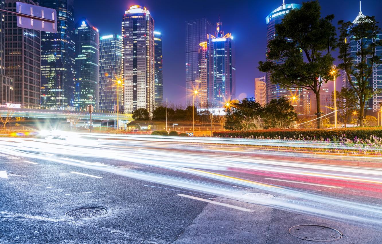 Обои огни, Город, Пейзаж, небоскребы, ночь. Города foto 8