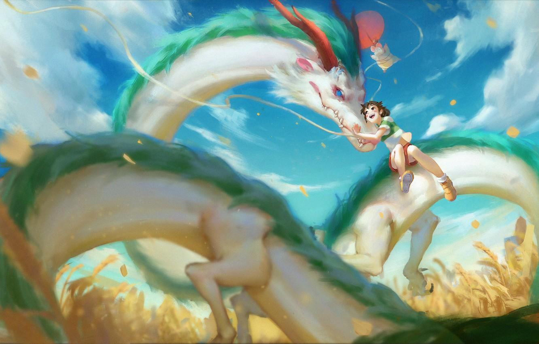 Фото обои дракон, аниме, арт, девочка, Тихиро, Spirited Away, Хаку, sairen J., унесённые призраками