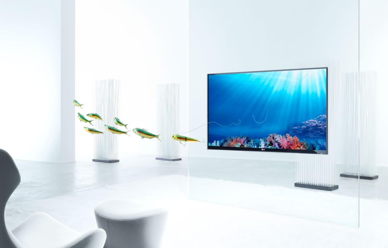 Фото обои рыбы, телевизор, Christophe Gilbert