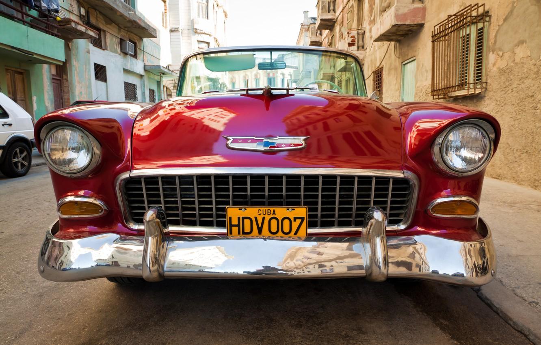 Фото обои улица, Chevrolet, парковка, автомобиль, хром, боке, крупным планом, цвет красный, wallpaper., feel of speed, Chevrolet …
