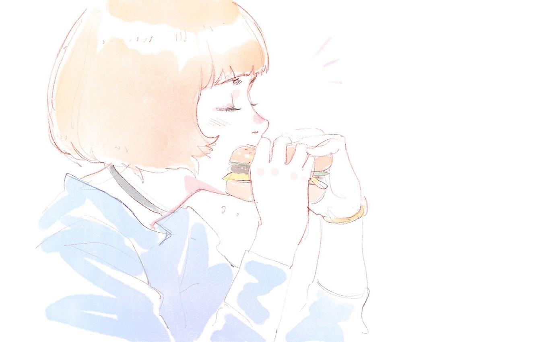 Фото обои стрижка, руки, белый фон, профиль, рыжая, бутерброд, челка, закрытые глаза, портрет девушки, перекус, Илья Кувшинов, …