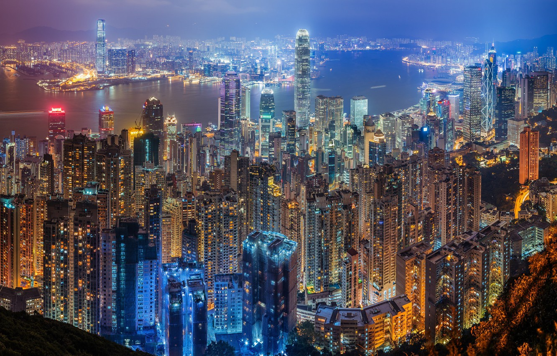 Фото обои ночь, город, огни, вечер, Китай, Гон-Конг