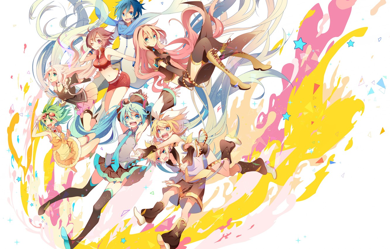 Фото обои стиль, краски, аниме, арт, белый фон, Vocaloid, Вокалоид, персонажи