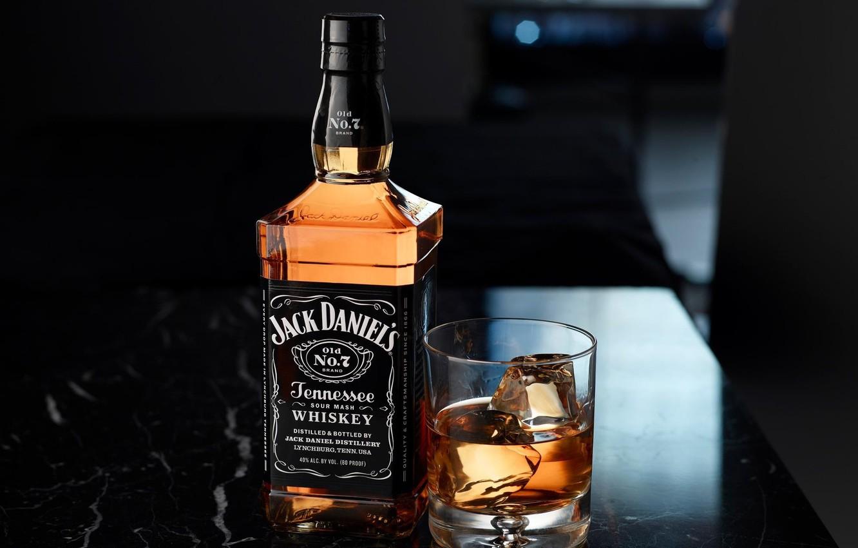 Фото обои стакан, бутылка, лёд, виски, box, bottle, jack daniels