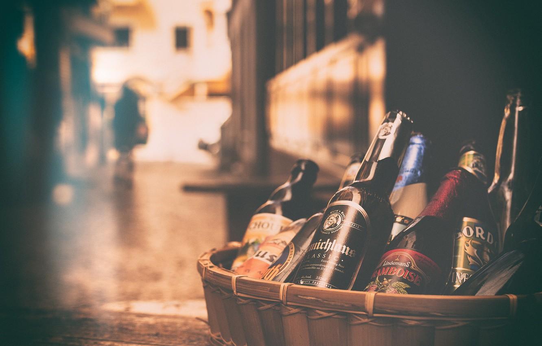 Фото обои корзина, пиво, бутылки