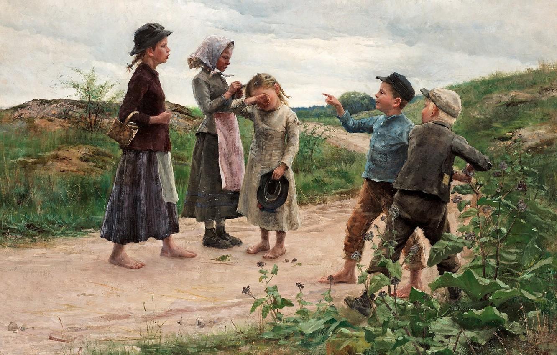 Фото обои 1885, шведская художница, Фанни Брате, Swedish painter, Дразнилки, Teasing children, Fanny Ingeborg Matilda Brate, Фанни …