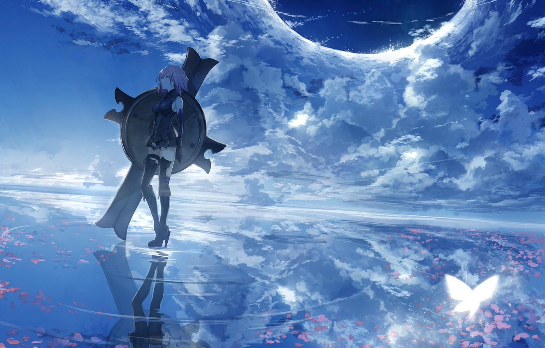Фото обои Вода, Облака, Аниме