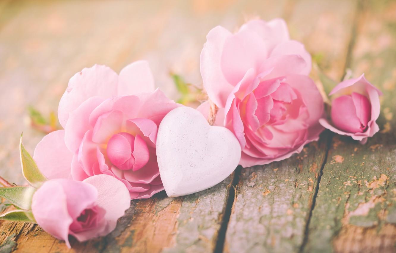 Фото обои розы, лепестки, love, heart, pink, flowers, romantic, roses, valentine`s day