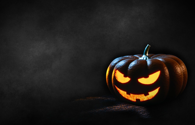 Фото обои Halloween, Хэллоуин, светильник Джека, в темноте, адская ухмылка, злобная, тыква с глазами