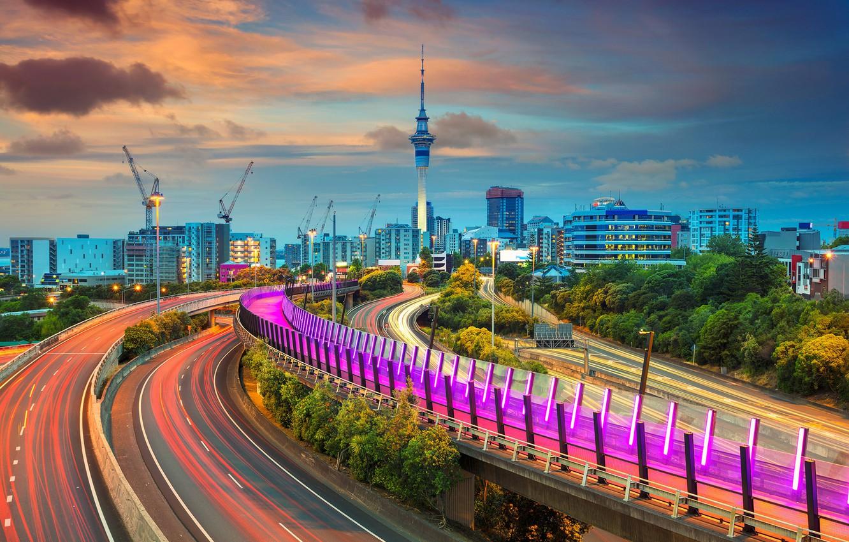 Обои окленд, Вечер, огни, Новая Зеландия. Города foto 12