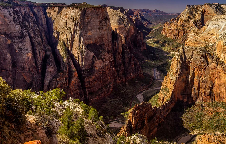 Обои Zion national park, сша, ручей, водопад, юта, скалы. Природа foto 18