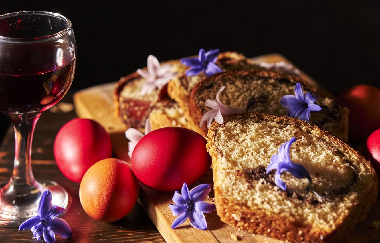 Фото обои праздник, вино, яйца, пасха, кекс