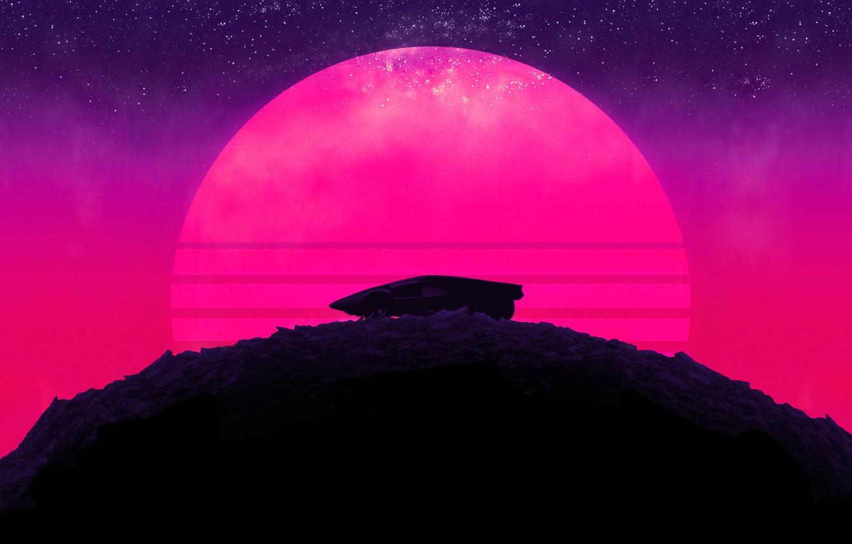 Фото обои Солнце, Авто, Музыка, Звезды, Луна, Неон, Гора, Машина, Пальмы, Фон, Холм, Треугольник, Electronic, Synthpop, Darkwave, ...