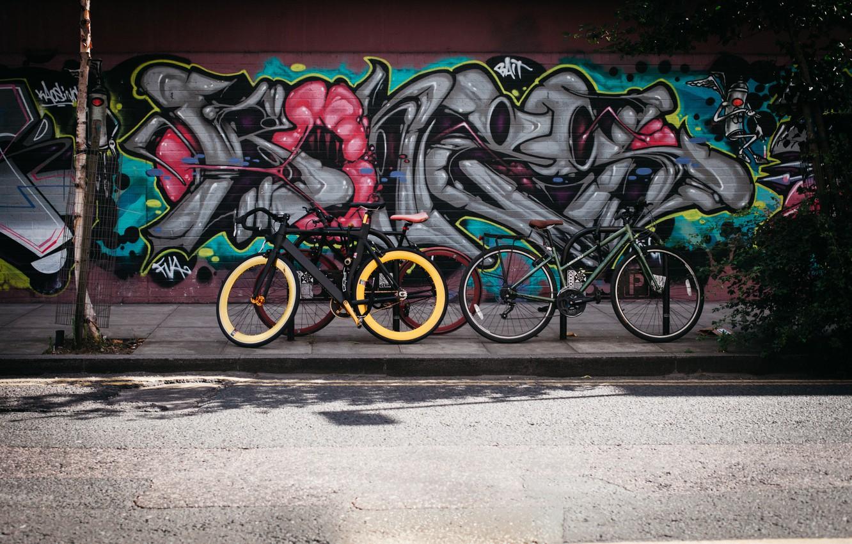 Фото обои дорога, велосипед, стена, улица, граффити, hdr, ultra hd