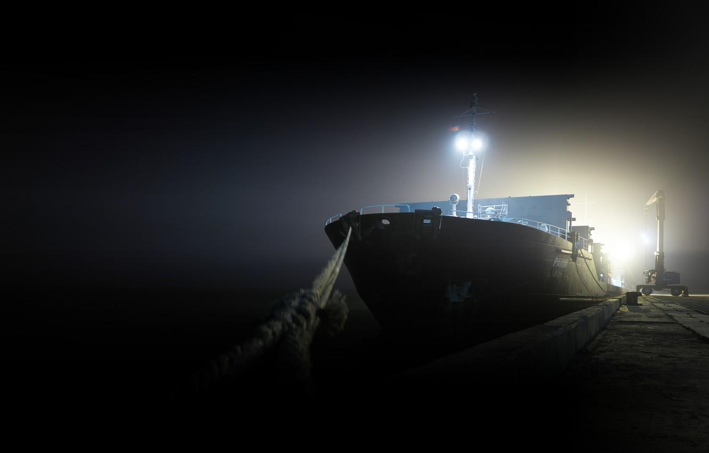 Фото обои ночь, корабль, пристань